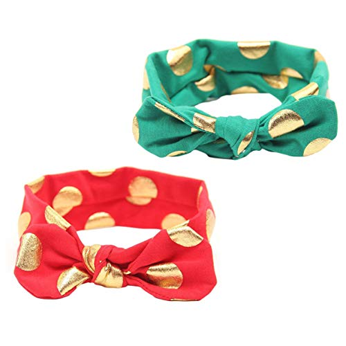 Baby Girls Gold Dots Bronzing Headband Cotton Turban Knotted Hair Bow Hairband JA60 (Red Green) -