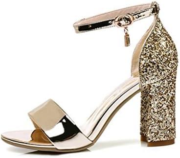 WEIQI-Sandales Femme/Strass Pailleté/Strap Buckle/High Heel/Brillant, Travail/Shopping/Réunion, 8cm, 32-41, Gold, 39