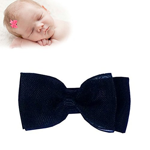 TruStay Clip – Organza baby hair bows – Best No Slip Barrette for Fine Hair (A6-Black)