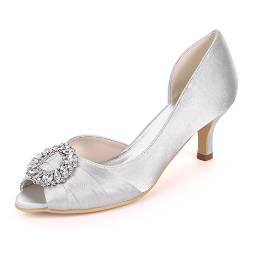 UK5 Ager Satin Party Silver Bombas EU38 Shoes Heels 08B Y1195 Court Toe Rhinestones Flower Mid Mujeres Open Sandals Wedding AHBdATqx