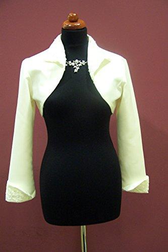 Bolero de novia de colour blanco con cuello bordado chaqueta colour crema blanco