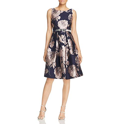 Eliza J Womens Floral Pleated Special Occasion Dress Navy 12
