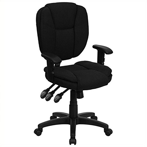 Flash Furniture Mid-Back Black Fabric Multifunction Ergonomic Swivel Task Chair with Adjustable Arms by Flash Furniture