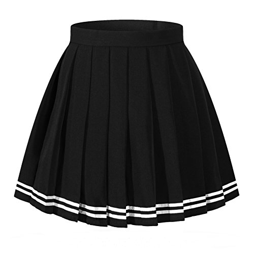 - Girl`s plaid check Flat Pleated Skirts School Sailor suit white stripes (L,Black)