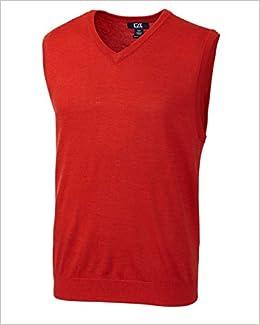 Book Cutter & Buck MCS01432 Mens Douglas V-neck Sweater Vest, Milano Red Heather-M