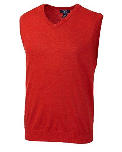 Cutter & Buck MCS01432 Mens Douglas V-neck Sweater Vest, Milano Red ()