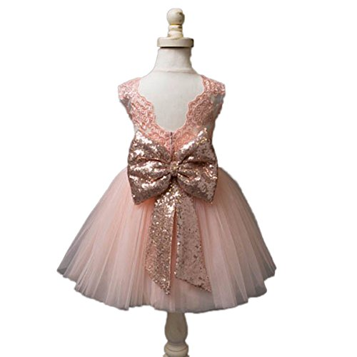 Automan Rose Gold Sequins Bow Lovely Flower Girls Big Bow Sash Belt (M(5-8T), (Lovely Pink Bow)