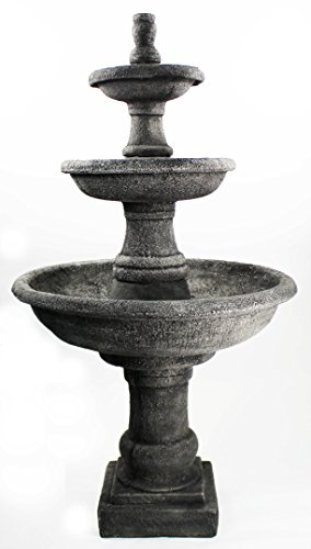 Three Tier Renaissance Fountain Cement Water Feature Concrete Garden Fountain Cast Stone European Yard Fountain by Fleur de Lis Garden Ornaments LLC