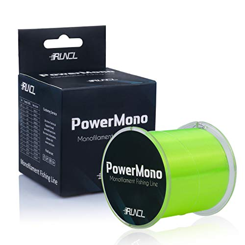 RUNCL PowerMono Fishing Line, Monofilament Fishing Line - Ultimate Strength, Shock Absorber, Suspend in Water, Knot Friendly - Mono Fishing Line (Yellow, 6LB(2.7kgs), 1000yds) (0.2 Mm Hi Line)