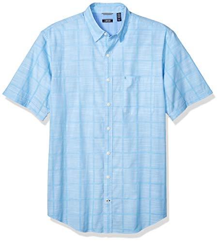 - IZOD Men's Saltwater Short Sleeve Windowpane Button Down Shirt, Heritage Blue 5X-Large Tall