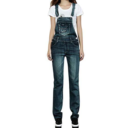 Rambling Fashion New Womens Denim Ripped Hole Bib Overall Jumpsuit Casual Jeans Pants (Dark Blue, S) ()