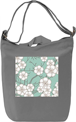 White Flowers Pattern Borsa Giornaliera Canvas Canvas Day Bag| 100% Premium Cotton Canvas| DTG Printing|