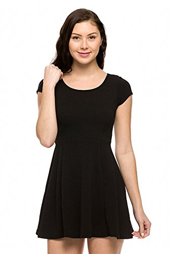 Sassy Apparel Womens Round Neck Cap Sleeve Fit and Flare Skater Skirt Dress (Large, Black)