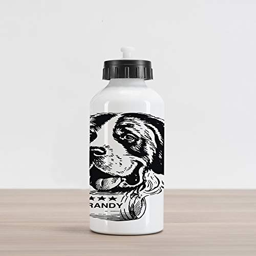Lunarable Man Cave Aluminum Water Bottle, Vintage Sketch of Saint Bernard Rolling a Keg of Brandy Whiskey Stars Retro, Aluminum Insulated Spill-Proof Travel Sports Water Bottle, Black and White