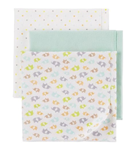 Child of Mine by Carter's Newborn Baby Neutral 3 Pack Flanne Blanket 30X30 inches