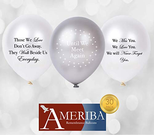 Biodegradable Remembrance Balloons: 30pc White & Silver Personalizable Funeral Balloons for Balloon Releases & Sympathy Gifts | Created/Sold by AMERIBA, a USA company (Variety Pk White, Black Writing)