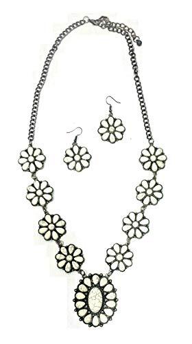Emma1997 Aztec Hippy Southwest Necklace Earrings Set Squash Blossom (Ivory)
