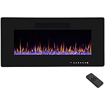 """R.W.FLAME 36"""" Electric Fireplace, Recessed Wall Mounted and In-wall Fireplace Heater, Fit for 2 x 4 and 2 x 6 Stud, Remote Control with Timer,Touch Screen,Adjustable Flame Color and Speed, 750-1500W"""