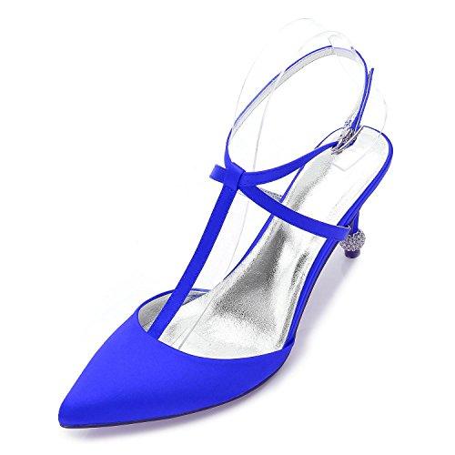 L@YC Mujeres D17767-31 marfil Satin & Close Wedges Satin Prom Zapatos nupciales de la boda Blue