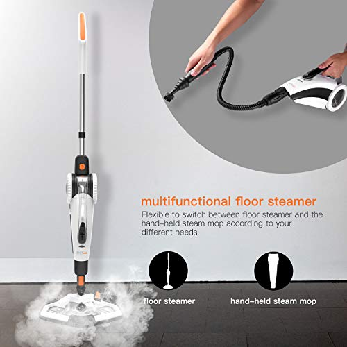 TACKLIFE Steam Mop, Steam Cleaner Multifunction Floor Steamer and Hand-held Steam Floor Mop 2 in 1, 1400W Portable Electric Scrubber Heating in 5s, with 11 Accessories by TACKLIFE (Image #2)