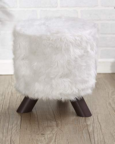 Ottomans Fabric Covered White Faux Fur (Stool Fur)