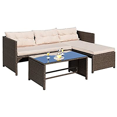 "Homall 3 Pieces Outdoor Rattan Wicker Patio Furniture Sofa Set Lounge Chaise with Cushions and Pillows for Dining and Conversation - -Wicker furniture set comes with a sofa,chaise lounge and coffee table with tempered glass. -Patio furniture set, strong steel frame with all weather PE rattan wicker. -Ideal for patios, backyards, gardens, balconies, poolside and more. Sofa Dimensions: 25.2""W x 49.2""D x 25.2""H;Chaise Lounge Dimensions: 25.2""W x 49.2""D x 25.2""H - patio-furniture, patio, conversation-sets - 41U554xnxlL. SS400  -"