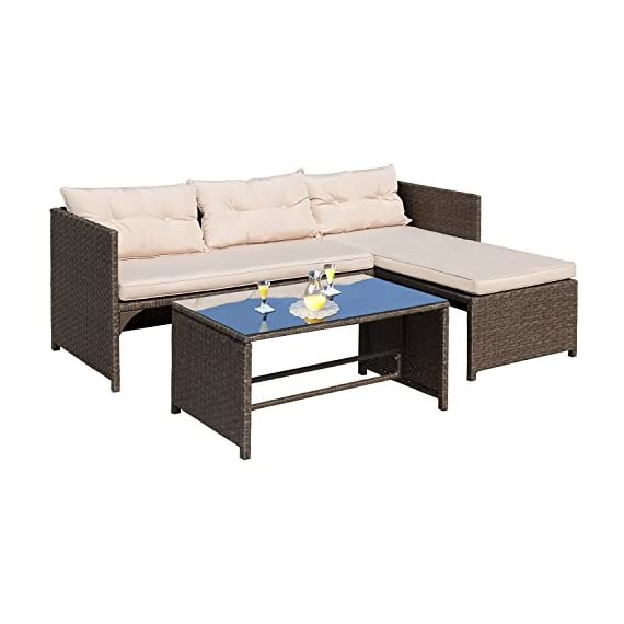 """Homall 3 Pieces Outdoor Rattan Wicker Patio Furniture Sofa Set Lounge Chaise with Cushions and Pillows for Dining and Conversation - -Wicker furniture set comes witha sofa,chaise lounge and coffee table with tempered glass. -Patio furniture set, strong steel frame with all weather PE rattan wicker. -Ideal for patios, backyards, gardens, balconies, poolside and more. Sofa Dimensions: 25.2""""W x 49.2""""D x 25.2""""H;Chaise Lounge Dimensions: 25.2""""W x 49.2""""D x 25.2""""H - patio-furniture, patio, conversation-sets - 41U554xnxlL. SS570  -"""