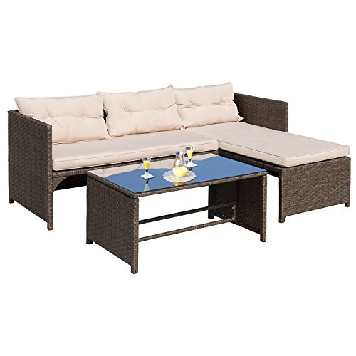 Homall 3 PC Wicker Outdoor Patio Furniture Set Rattan Sofa,Outdoor/Indoor Use for Backyard Porch Garden Poolside Balcony with Beige Cushion (Brown/Grey) For Sale