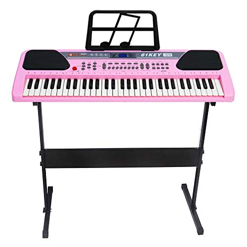 iMeshbean 61 Key Music Electronic Keyboard Electric Digital Piano Organ w/Stand Optional (Pink keyboard with stand)