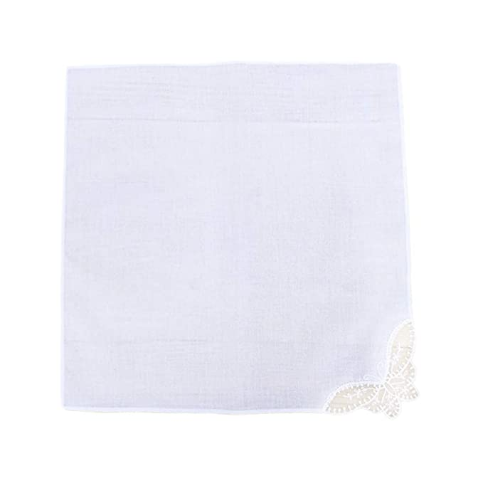 Balain puro algodón blanco pañuelo de encaje cuadrado bufanda ...