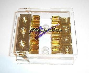 Phoenix Gold MBBX33, Fuse Distribution Block, Expert Series, 1 to 4, AGU Fuses, for 2 glass fuses, input: 3 cables - 1 Gauge (50mm²), output: 4 cables - 8 Gauge (10mm²)
