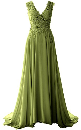 Size 90s Fancy Dress Plus (MACloth Women V Neck Long Prom Dress Vintage Lace Chiffon Formal Evening Gown (6, Olive)