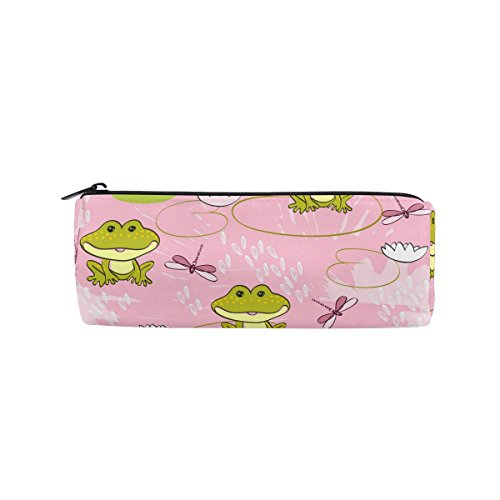 Yuihome Frogs Dragonflies Pencil Bag Pen Case Stationery Pouch Coin Purse with Zipper for School Work Office - Frog Good Work Holder