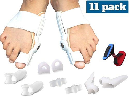 Medical grade – Bunion corrector and Pain relief kit – 11 piece Hallux Valgus straightener brace and splint