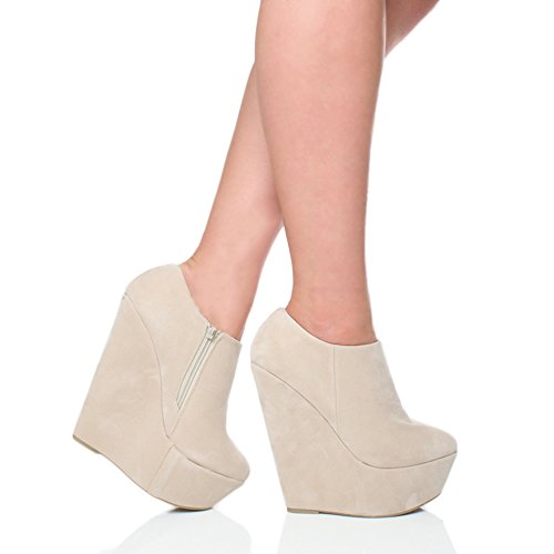 Ajvani Womens ladies high heel wedge platform zip up ankle shoe boots booties size Nude Beige Suede l1o4YJhoC