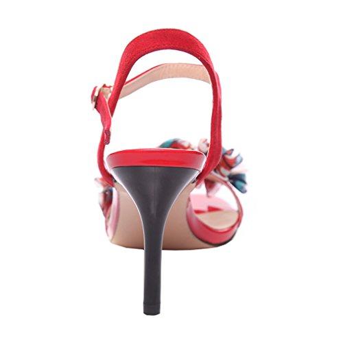 ENMAYER Damen Gürtelschnalle Strap High Heels Opened Toe Solid Casual Party Schuhe für Frauen Stiletto Sommer Schuhe Sandalen Rot