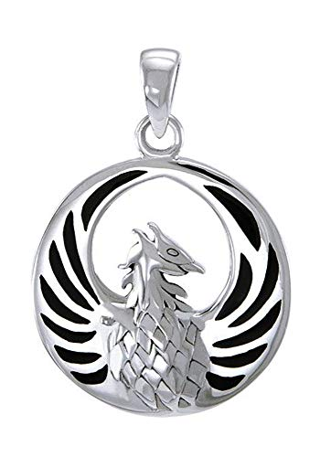 (Sterling Silver Phoenix Pendant with Faux Black Onyx Inlay )