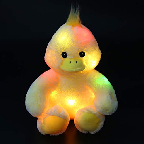Bstaofy LED Duck Stuffed Animal Glow Cuddly Plush Toy Bedtime Colorful Afraid of Duck Gift for Toddlers Kids on Birthday Christmas Halloween Festival Occasions, 12''