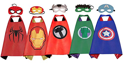 Dress Up Costume Set of Superhero Satin Capes with Felt Masks for Kids 5 Packs