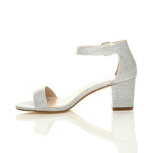 Sandals Mid Size Glitter Women Strappy Heel Ajvani Block Silver RZ51nq