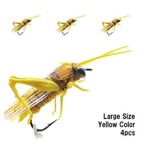 Realistic Grasshopper Dry Fishing Flies Set of 4 Flies Cricket Hopper Fly Fishing Lure Trout Pike Carp Flyfishing (Large C4 Yellow)