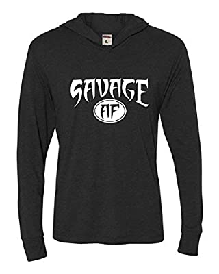 Go All Out Adult Savage AF Deluxe Triblend Hooded T-Shirt