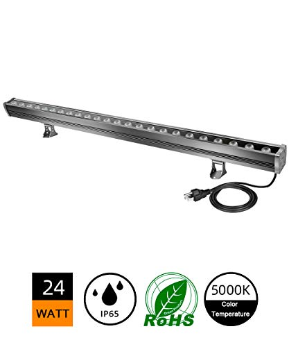 24W LED Wall Washer, 5000K Daylight White Linear Strip Light, 3.2ft/40