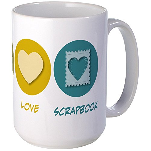 CafePress - Peace Love Scrapbook Large Mug - Coffee Mug, Large 15 oz. White Coffee (Scrapbook Mug)