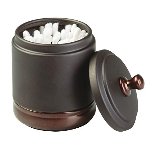 mDesign Metal Bathroom Vanity Canister Jar for Cotton Balls, Swabs, Cosmetic Pads - Two Tone Bronze (Swab Holder)