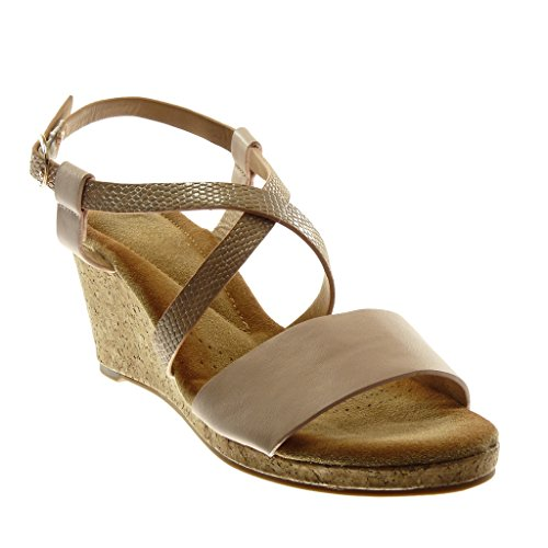 Angkorly Women's Fashion Shoes Sandals Mules - Ankle Strap - Multi Straps - Snakeskin - Cork Wedge 7.5 cm Pink