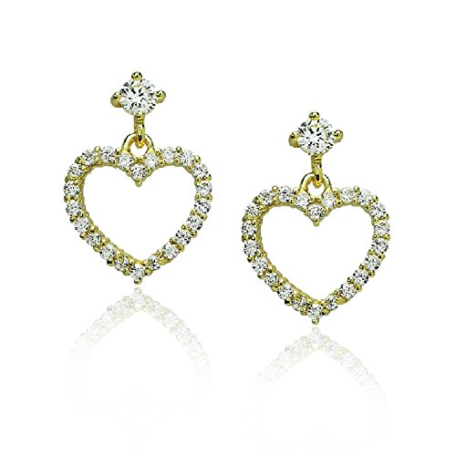 Piers Design Children Open Heart Post Earrings, with Cubic Zirconia Border, Sterling Silver Gold ()