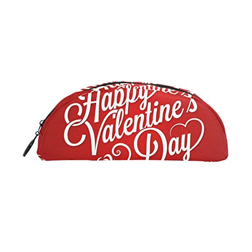 JERECY Happy Valentine's Day Lettering Backgroud Pencil Case Pen Bag Pouch Holder Coin Purse Cosmetic Makeup for Trave Office -