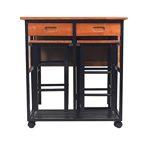 - Circlelink Space Saver Chess Surface Kitchen Island on Wheels with 2 Stools