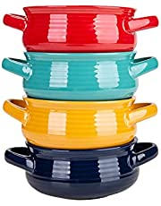 Cutiset 20 Ounce Multicolor Ceramic Soup Bowls with Handles